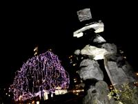 バンクーバーの街のイルミネーションの写真(ウエストエンド)