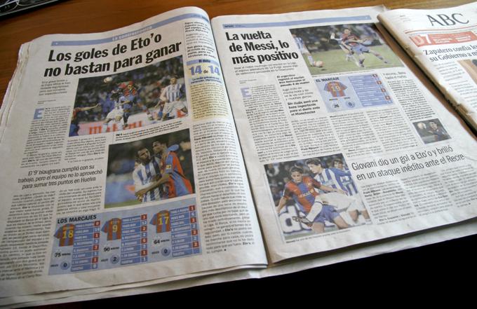 新聞でこんなに同じ試合の写真を使うなんて、、さすがスペイン、バルセロナ。